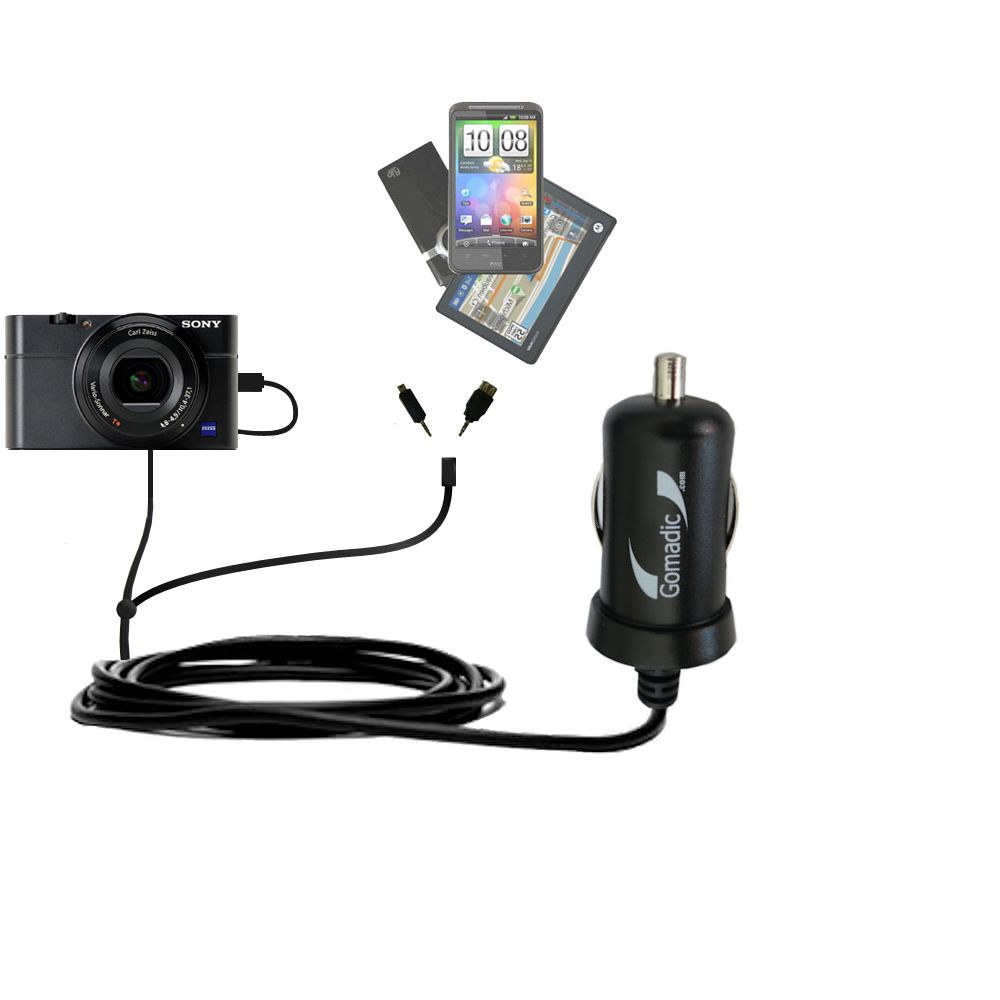 mini Double Car Charger with tips including compatible with the Sony Cybershot DSC-RX100
