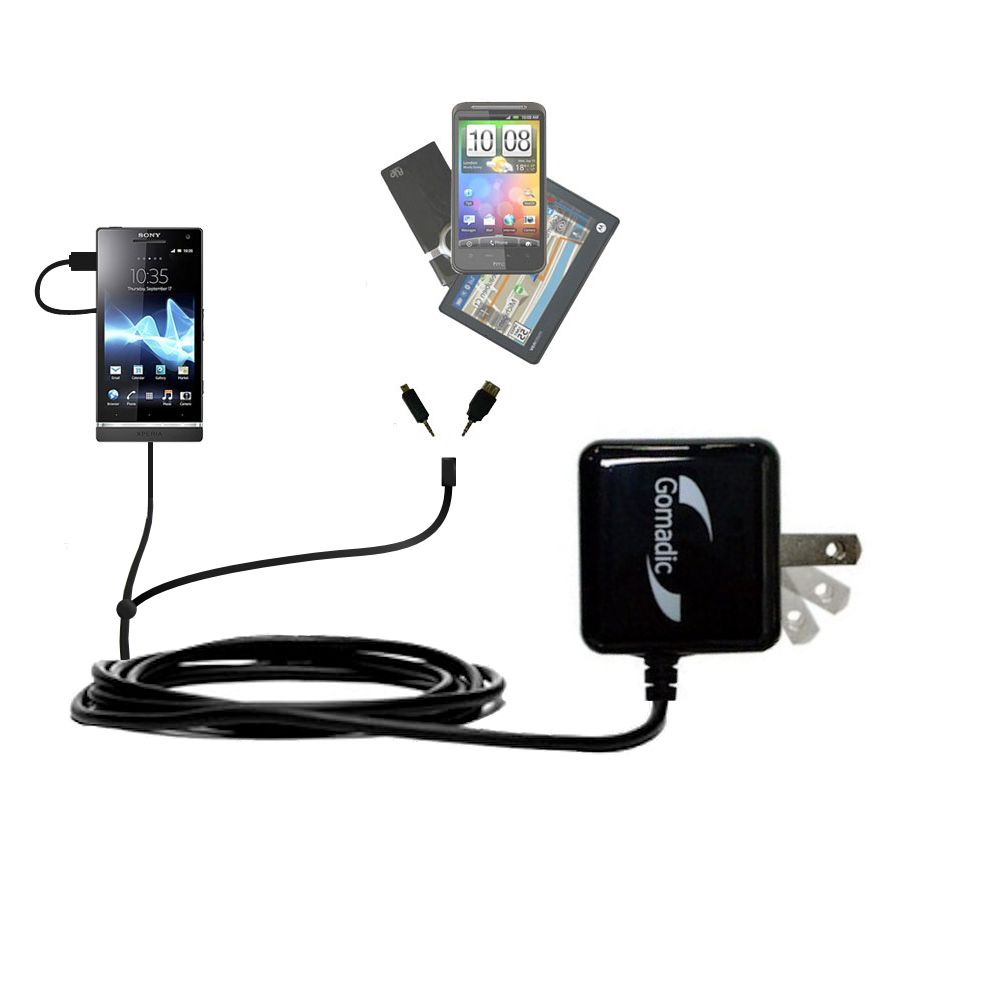 Double Wall Home Charger with tips including compatible with the Sony Ericsson Xperia S