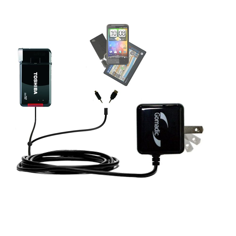 Gomadic Double Wall AC Home Charger suitable for the Toshiba Camileo S30 HD  Camcorder - Charge up ...