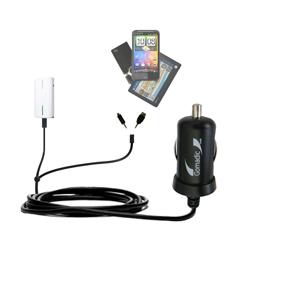 mini Double Car Charger with tips including compatible with the TP-Link TL-MR3040