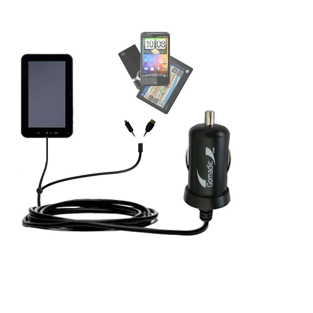 mini Double Car Charger with tips including compatible with the Tursion ZTPAD ZT PAD ZT102