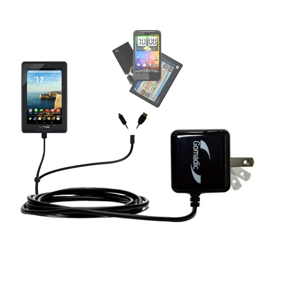 Double Wall Home Charger with tips including compatible with the Verizon Ellipsis 7