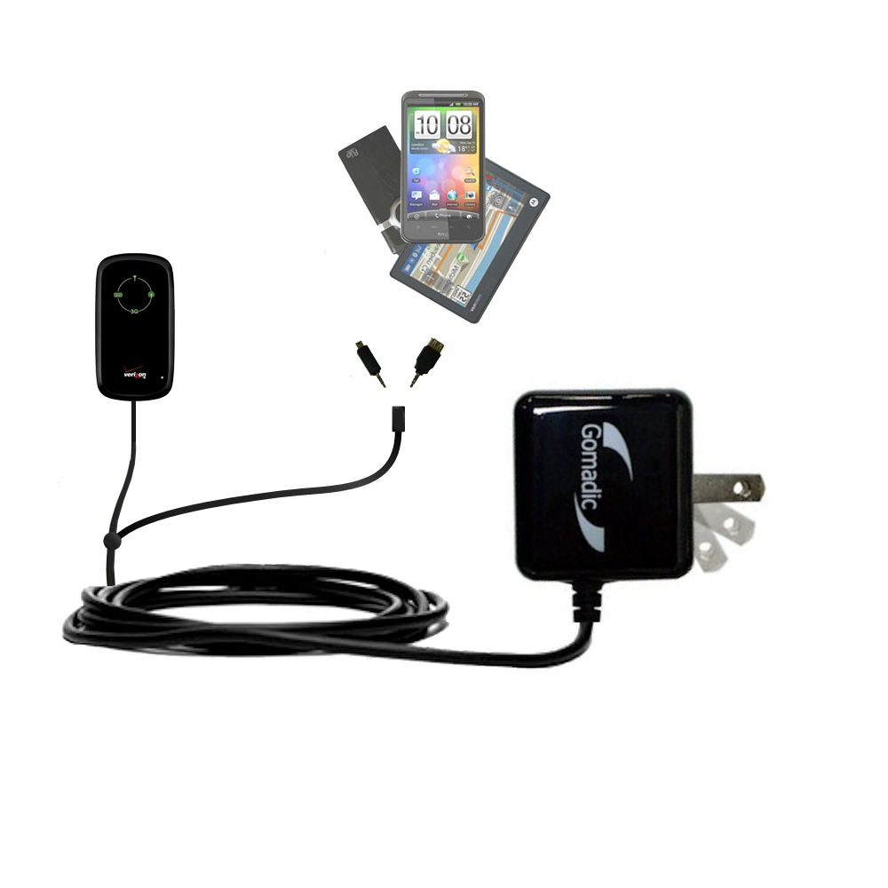 Double Wall Home Charger with tips including compatible with the Verizon Fivespot 3G Mobile Hotspot