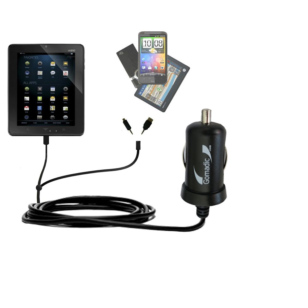 mini Double Car Charger with tips including compatible with the Vizio Vizio 8 (VTAB1008)