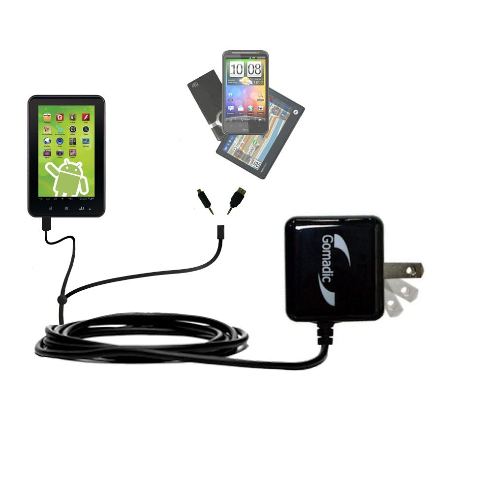 Double Wall Home Charger with tips including compatible with the Zeki 7 Tablet TB782B