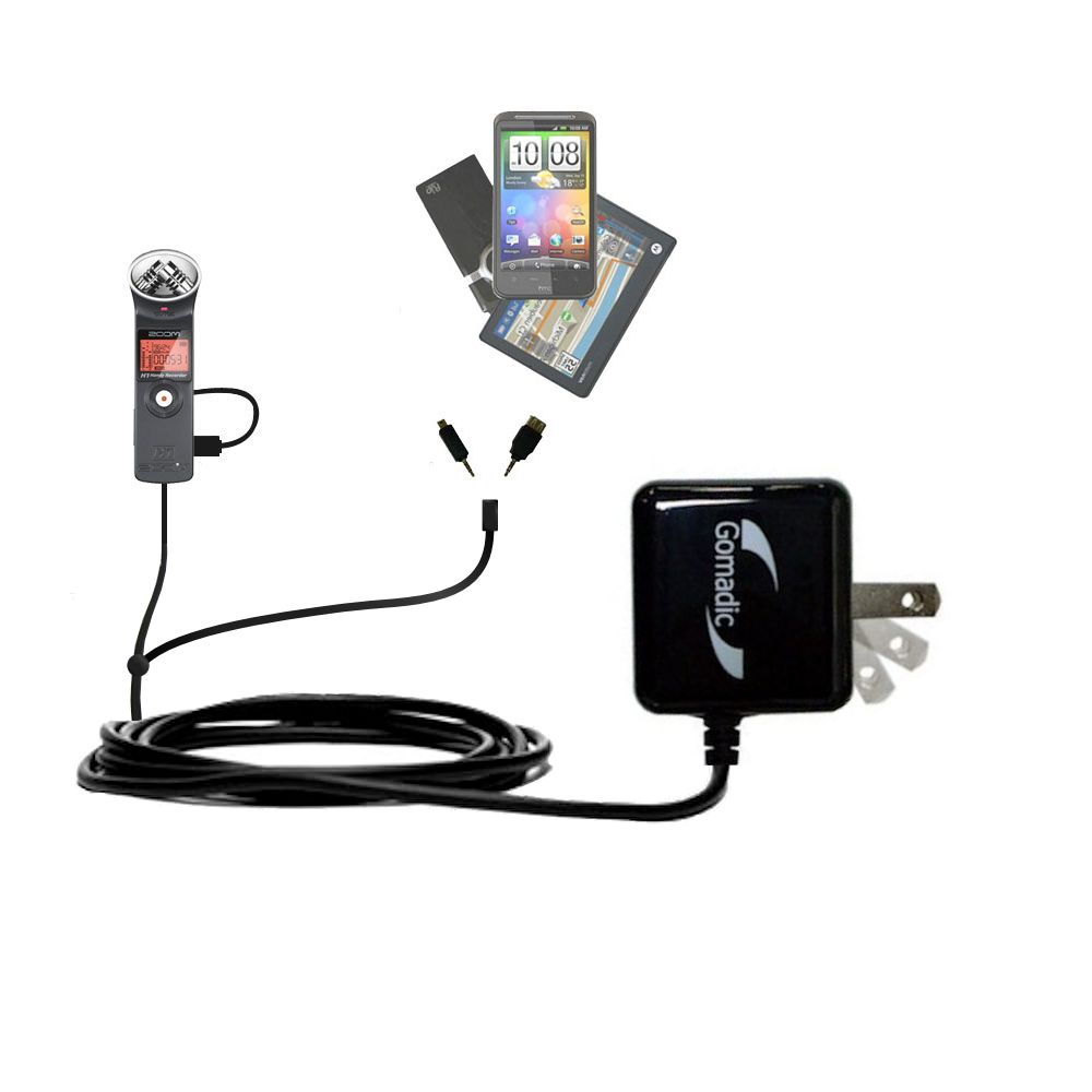 Double Wall Home Charger with tips including compatible with the Zoom H1