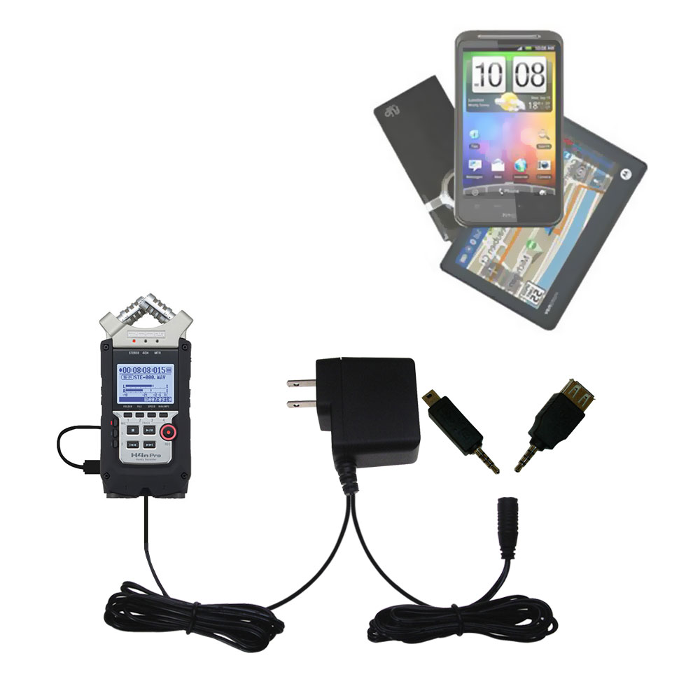 Double Wall Home Charger with tips including compatible with the Zoom H4N Pro