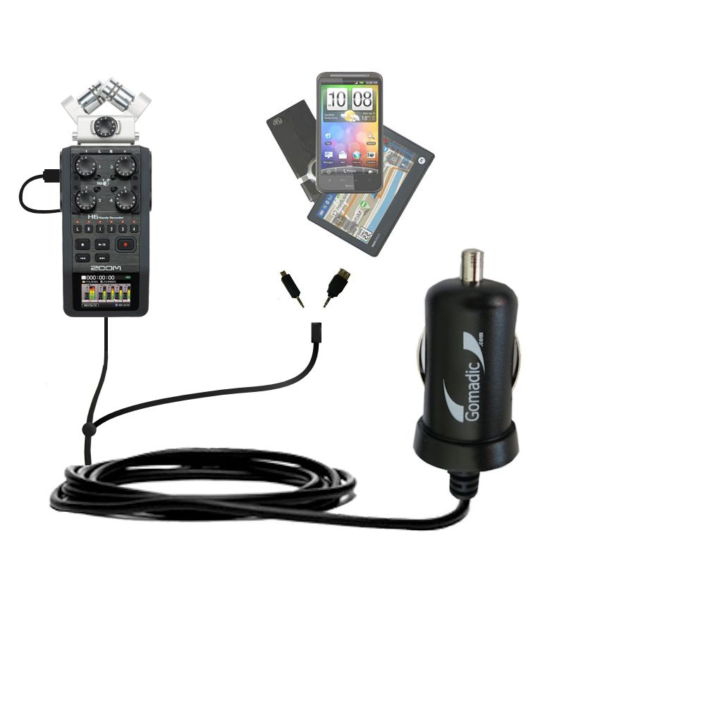mini Double Car Charger with tips including compatible with the Zoom H6