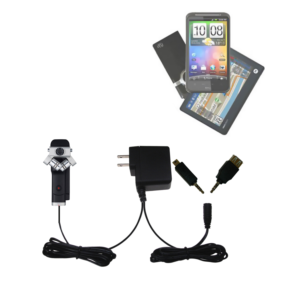 Double Wall Home Charger with tips including compatible with the Zoom Q8 Handy Video Recorder