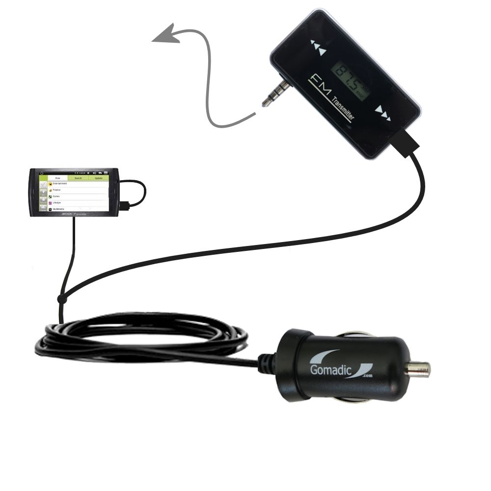 FM Transmitter Plus Car Charger compatible with the Archos 7 Home Tablet with Android
