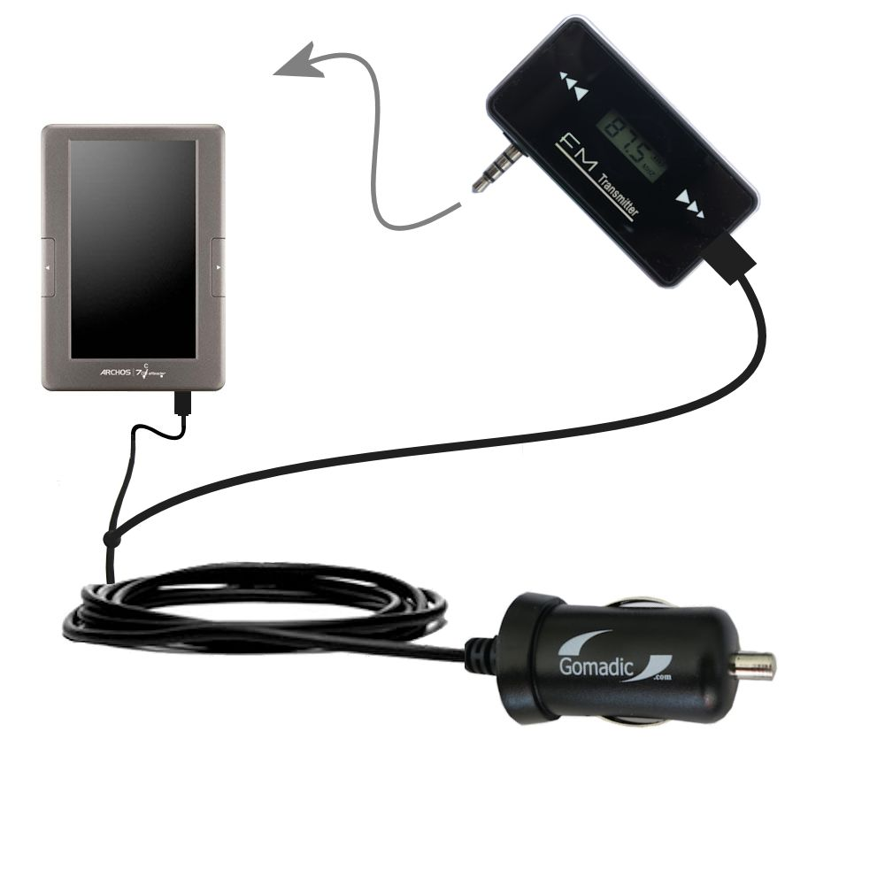 FM Transmitter Plus Car Charger compatible with the Archos 70c eReader