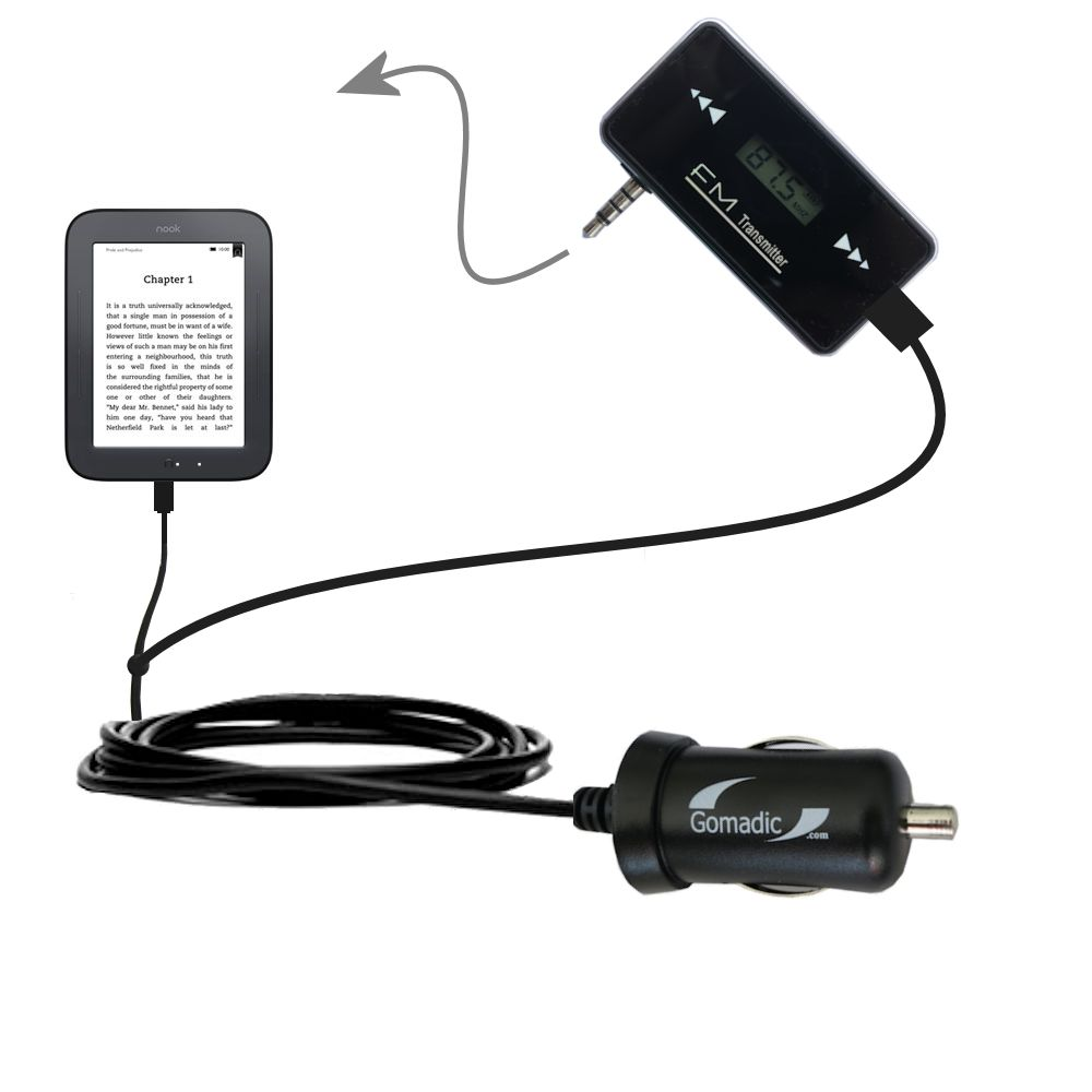 FM Transmitter Plus Car Charger compatible with the Barnes and Noble nook Original eBook eReader