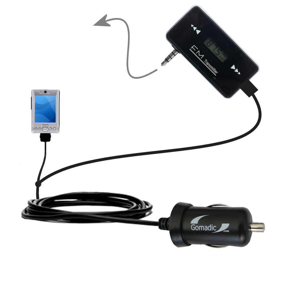 FM Transmitter Plus Car Charger compatible with the Dell Axim x3i