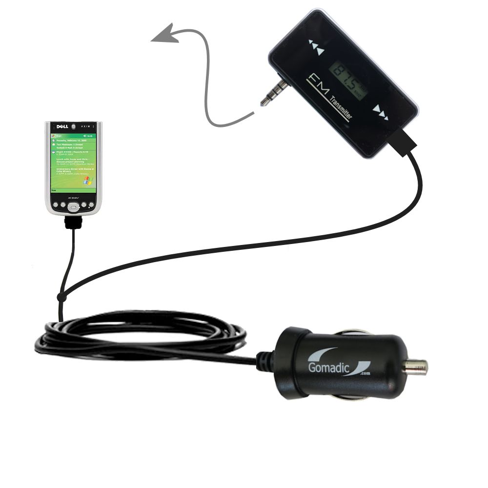 FM Transmitter Plus Car Charger compatible with the Dell Axim X50 X50v
