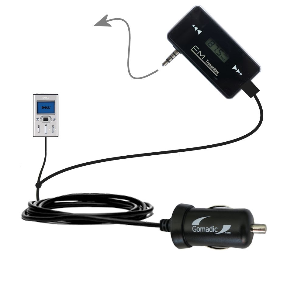 FM Transmitter Plus Car Charger compatible with the Dell Pocket DJ 15GB