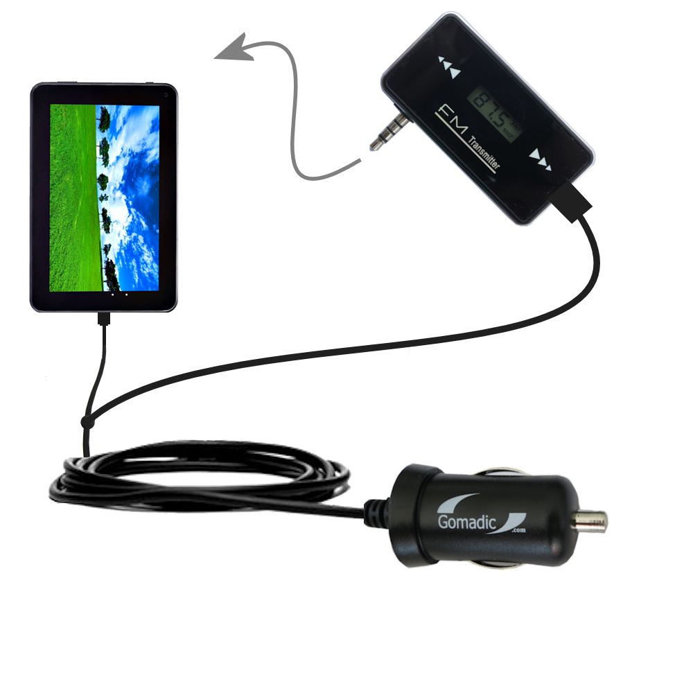 FM Transmitter Plus Car Charger compatible with the Double Power D7020 D7015 7 inch tablet