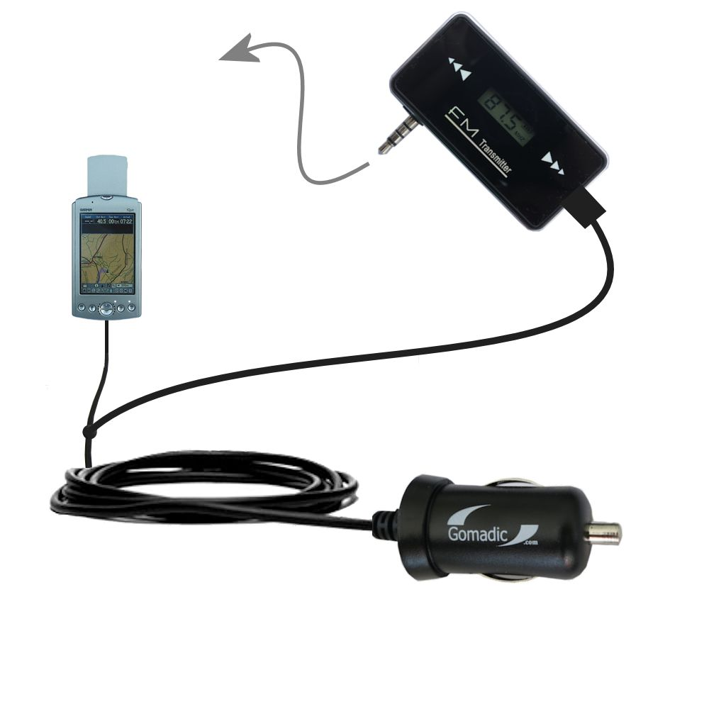 FM Transmitter Plus Car Charger compatible with the Garmin iQue 3600