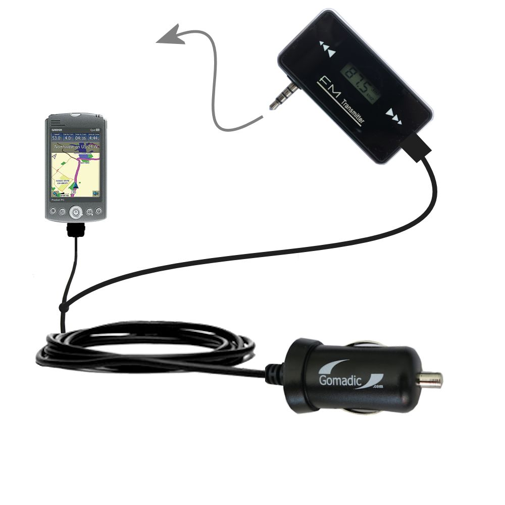 FM Transmitter Plus Car Charger compatible with the Garmin iQue M3