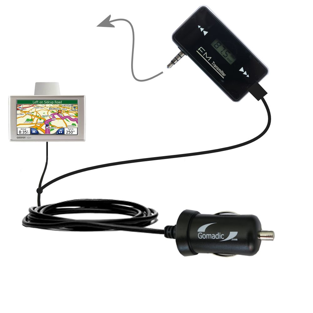 FM Transmitter Plus Car Charger compatible with the Garmin Nuvi 670