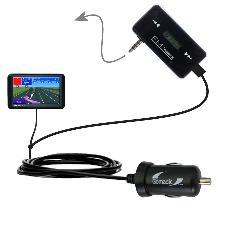 FM Transmitter Plus Car Charger compatible with the Garmin nuvi 765