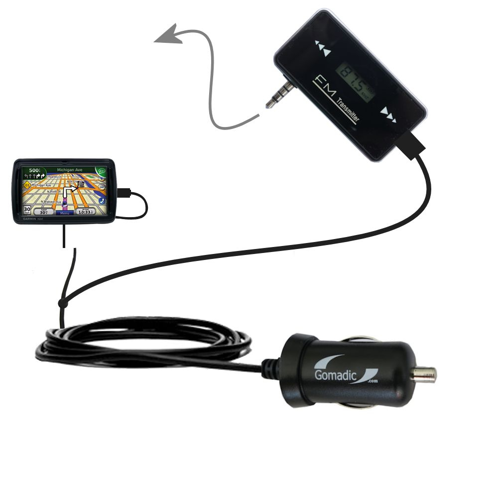 FM Transmitter Plus Car Charger compatible with the Garmin Nuvi 855