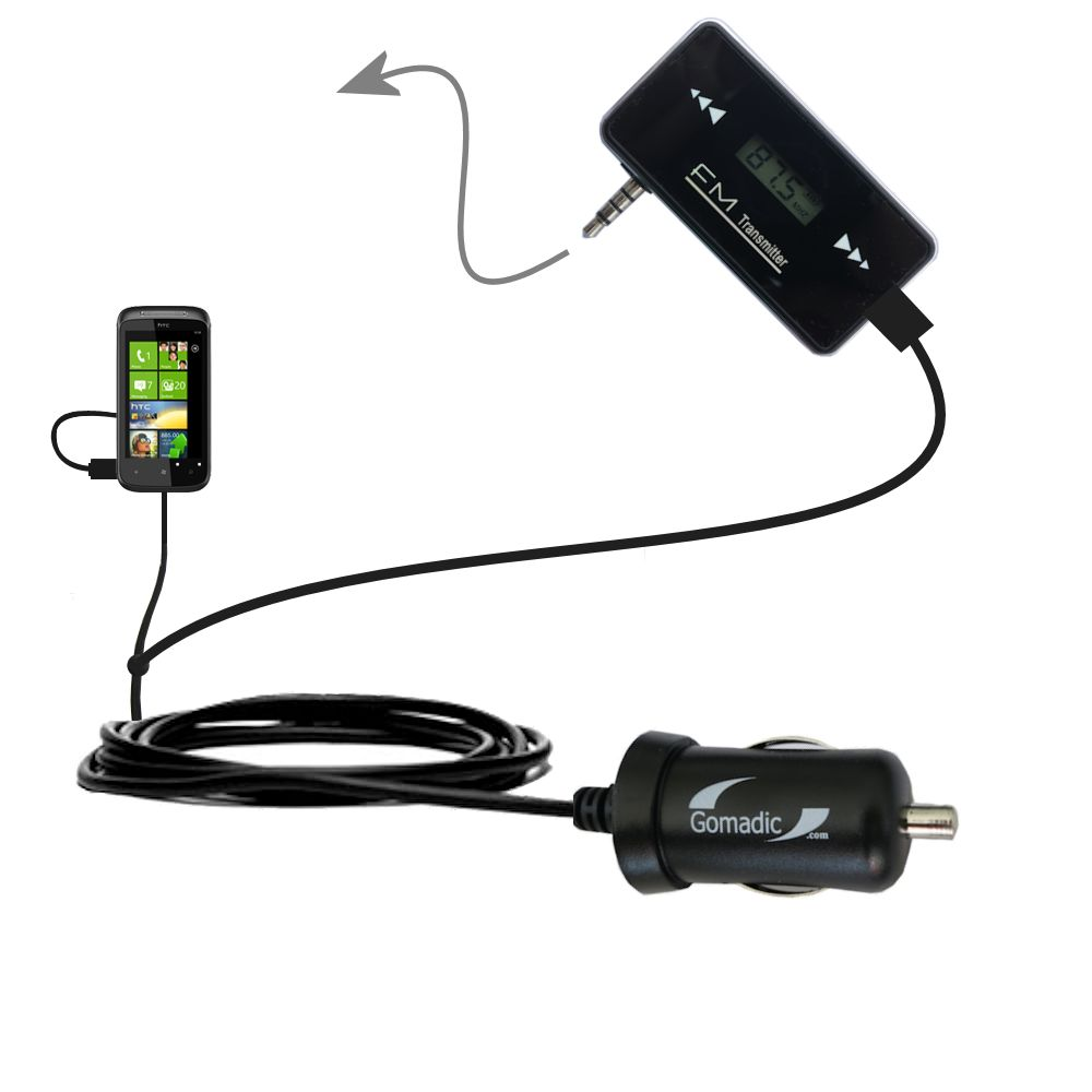 FM Transmitter Plus Car Charger compatible with the HTC Eternity