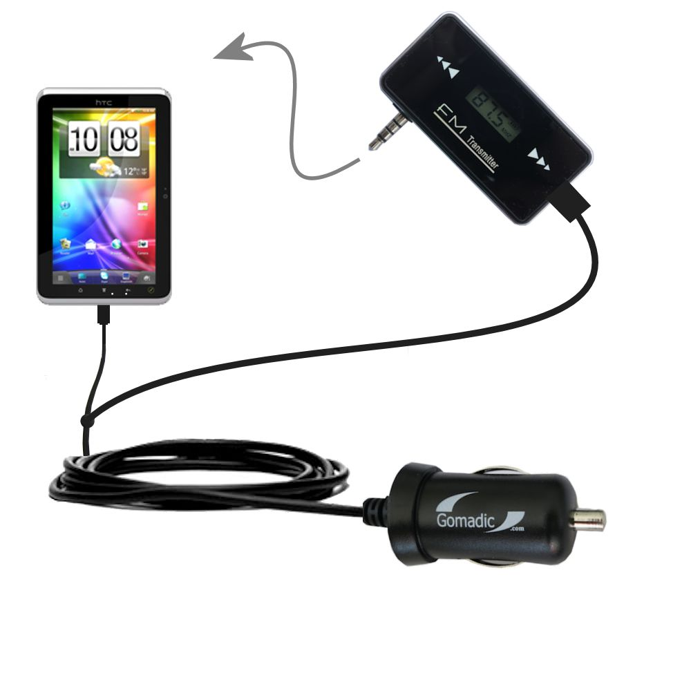 FM Transmitter Plus Car Charger compatible with the HTC Flyer