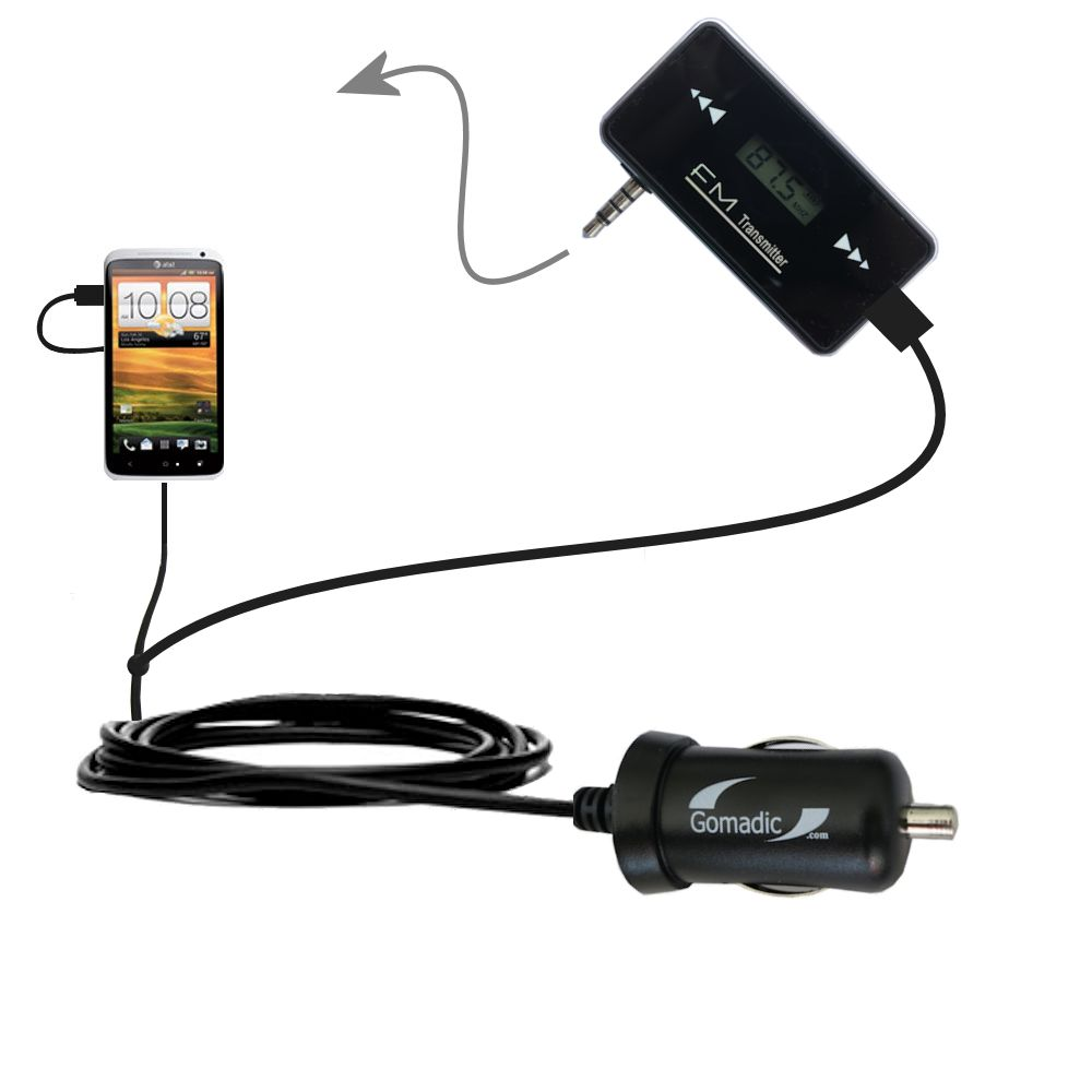 FM Transmitter Plus Car Charger compatible with the HTC One X