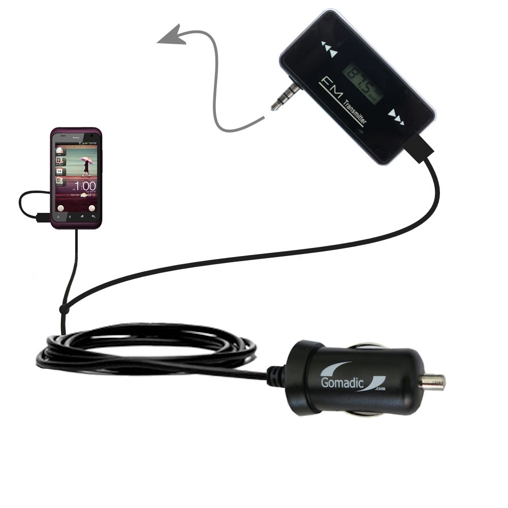 FM Transmitter Plus Car Charger compatible with the HTC Rhyme