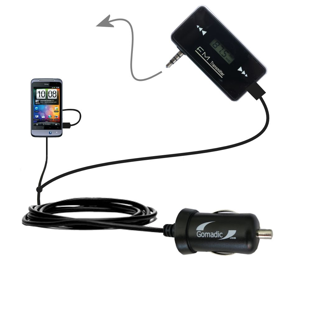 FM Transmitter Plus Car Charger compatible with the HTC Salsa