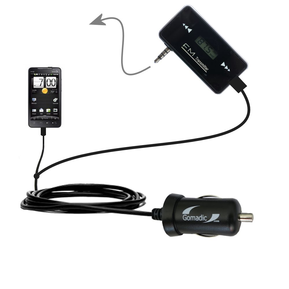 FM Transmitter Plus Car Charger compatible with the HTC Supersonic