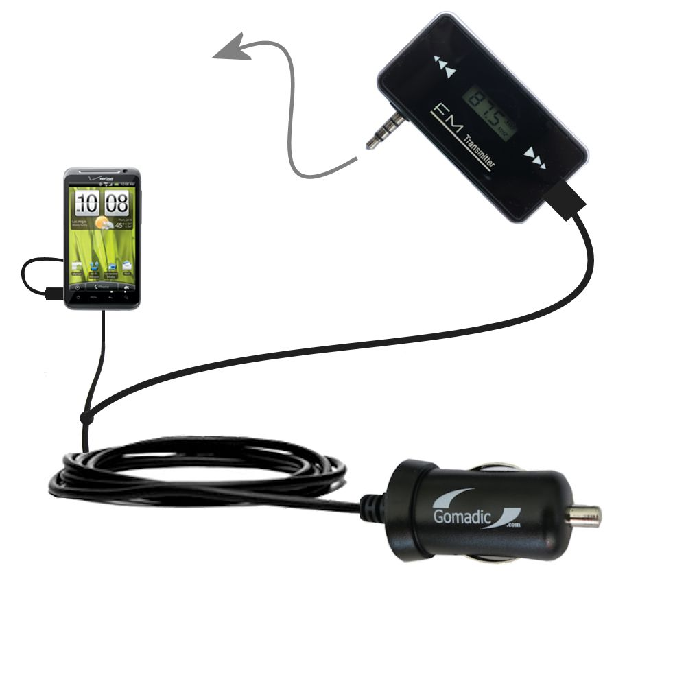 FM Transmitter Plus Car Charger compatible with the HTC Thunderbolt