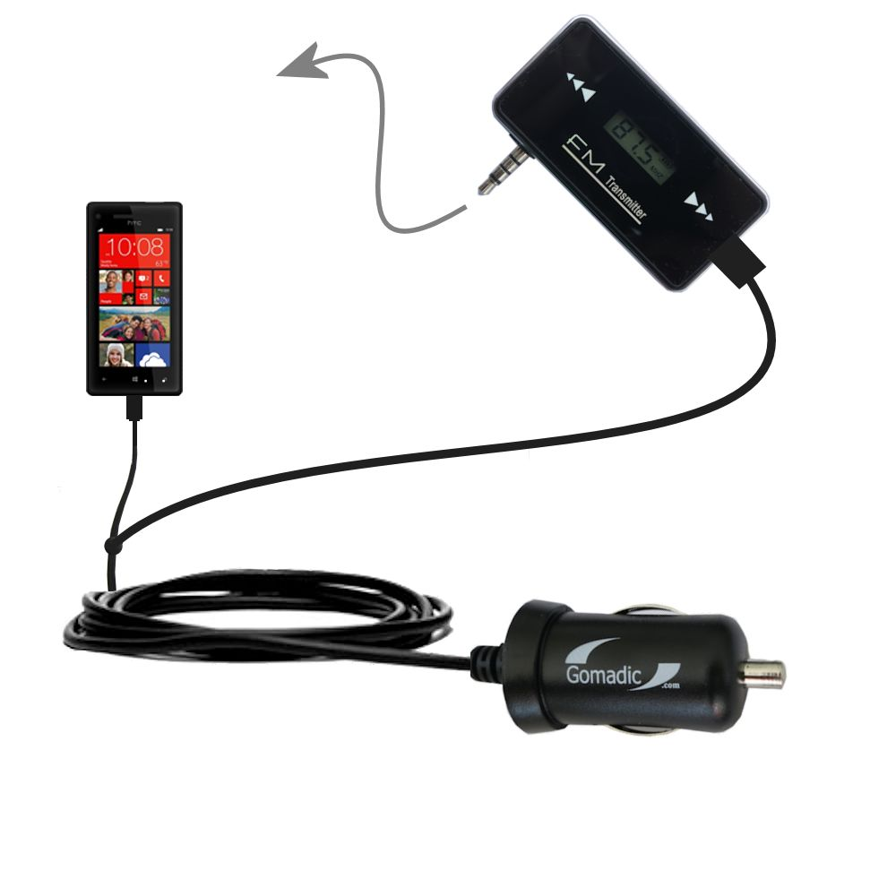 FM Transmitter Plus Car Charger compatible with the HTC Windows Phone 8x