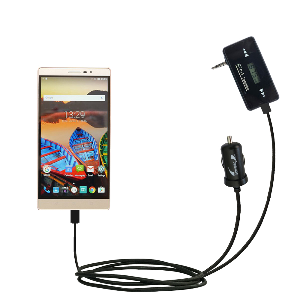 FM Transmitter Plus Car Charger compatible with the Lenovo PHAB 2 Pro