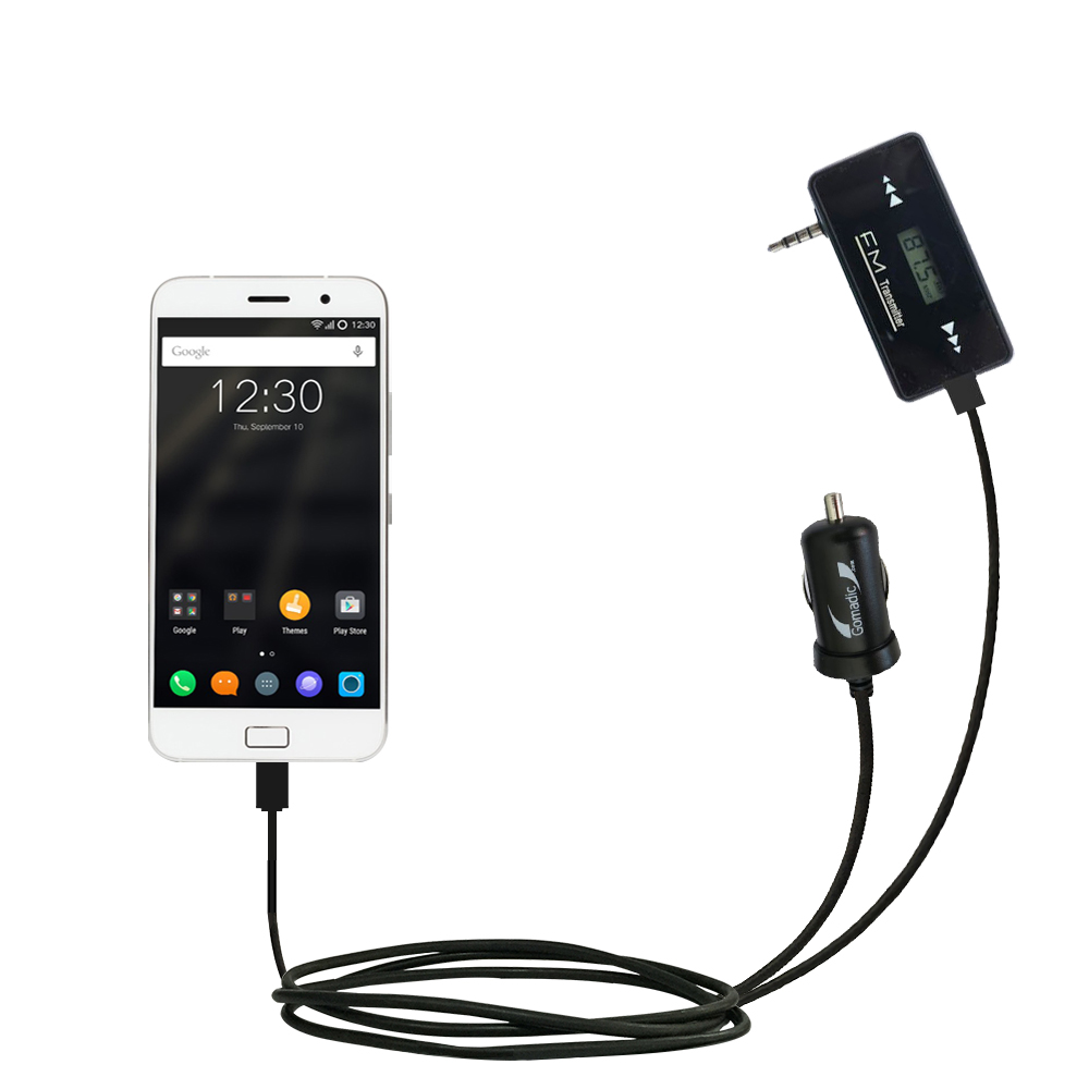 FM Transmitter Plus Car Charger compatible with the Lenovo ZUK Z1