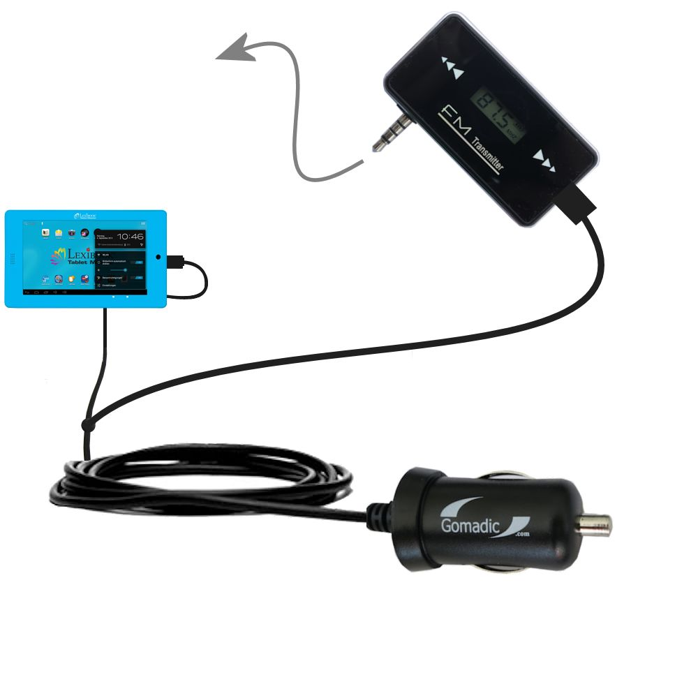 FM Transmitter Plus Car Charger compatible with the Lexibook Tablet Advance MFC180EN