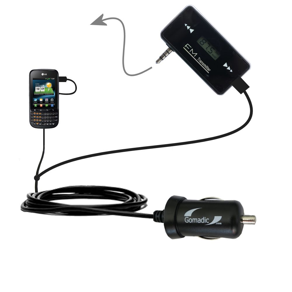 FM Transmitter Plus Car Charger compatible with the LG C660