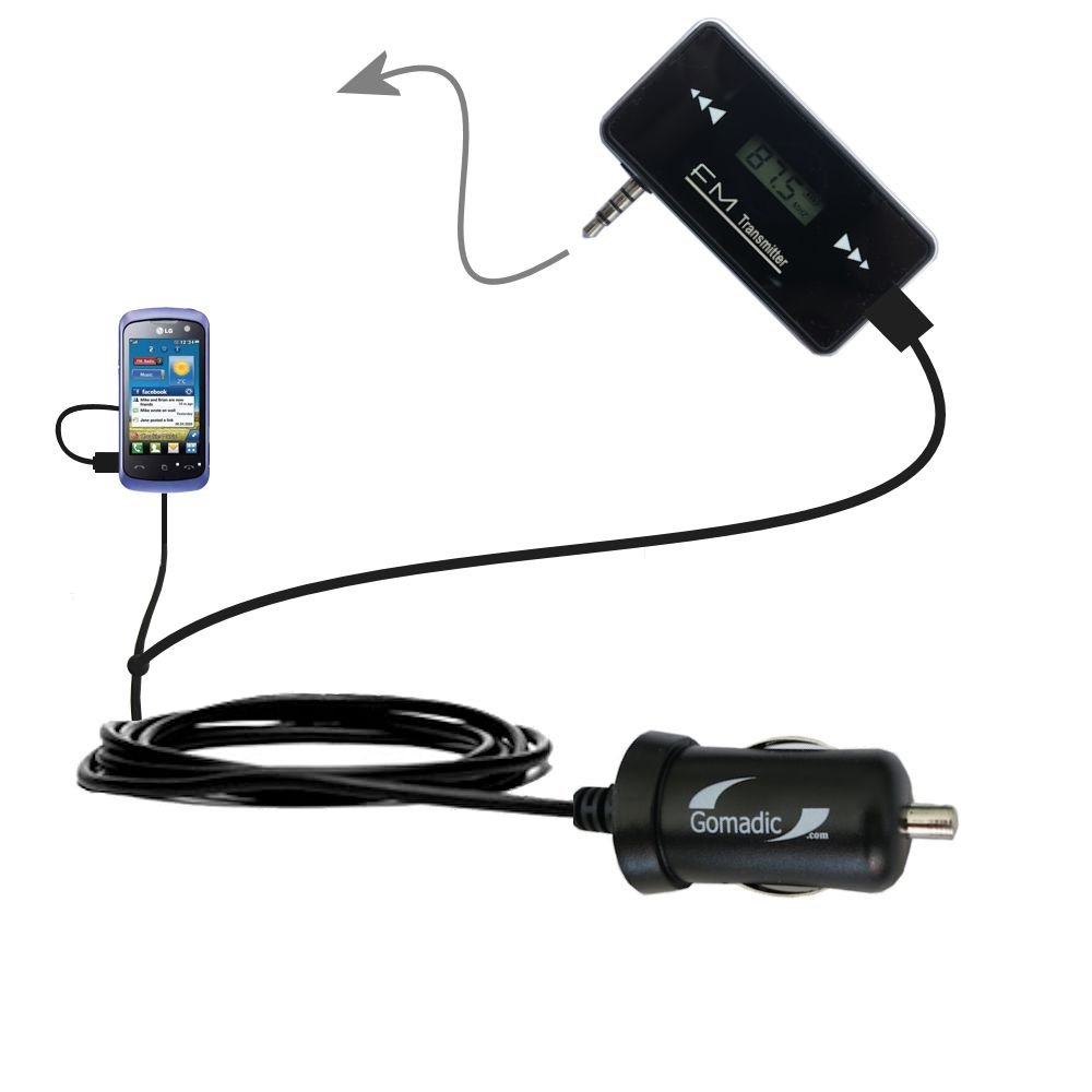 FM Transmitter Plus Car Charger compatible with the LG Cookie Music