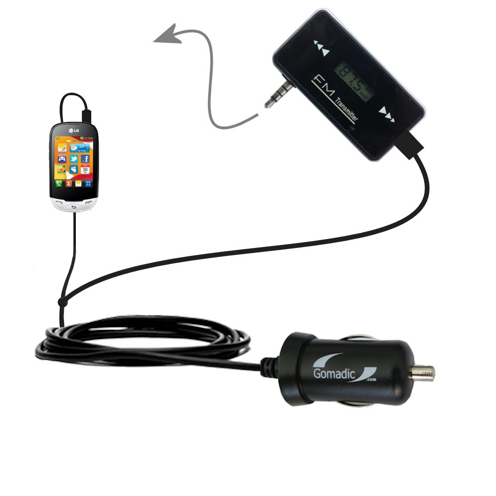 FM Transmitter Plus Car Charger compatible with the LG EGO Wi-Fi