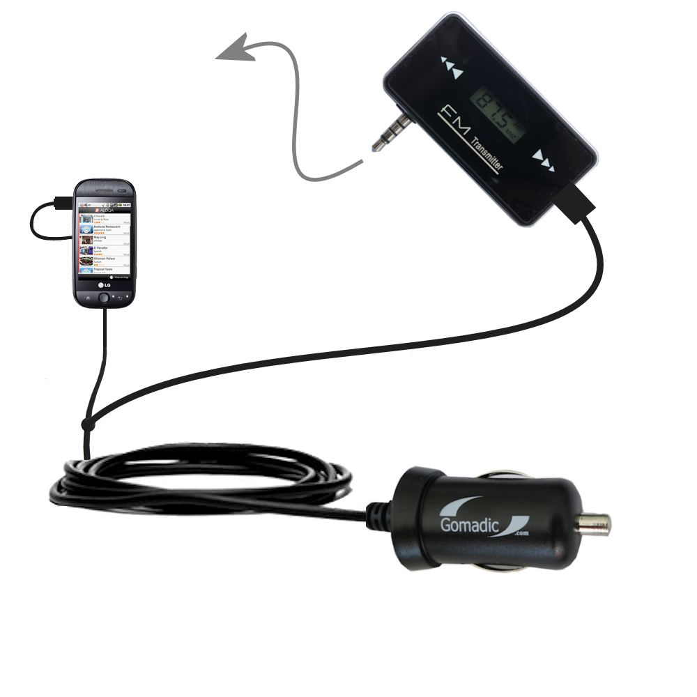 FM Transmitter Plus Car Charger compatible with the LG InTouch Max