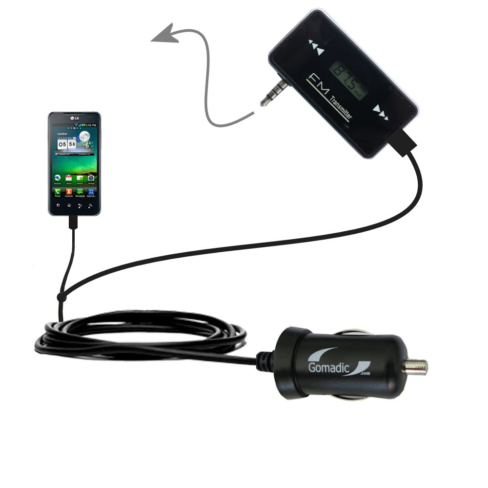 FM Transmitter Plus Car Charger compatible with the LG Optimus 2X