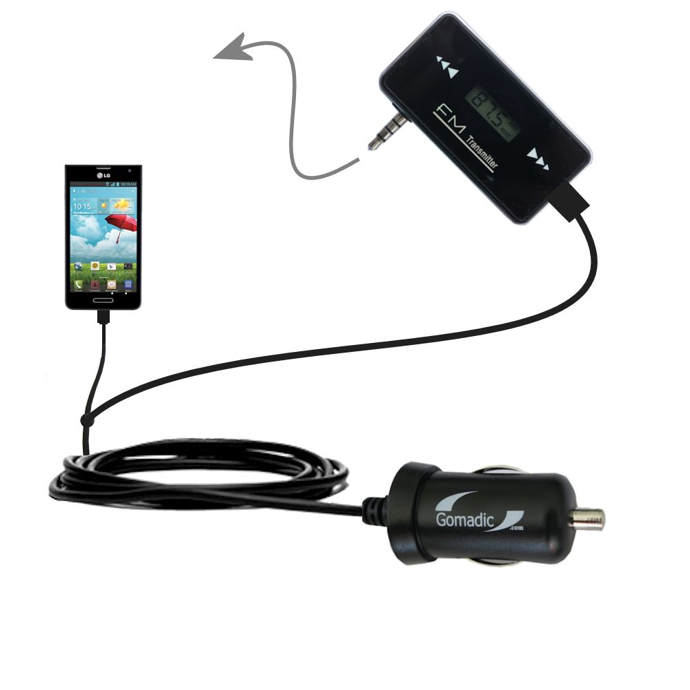 FM Transmitter Plus Car Charger compatible with the LG Optimus F6