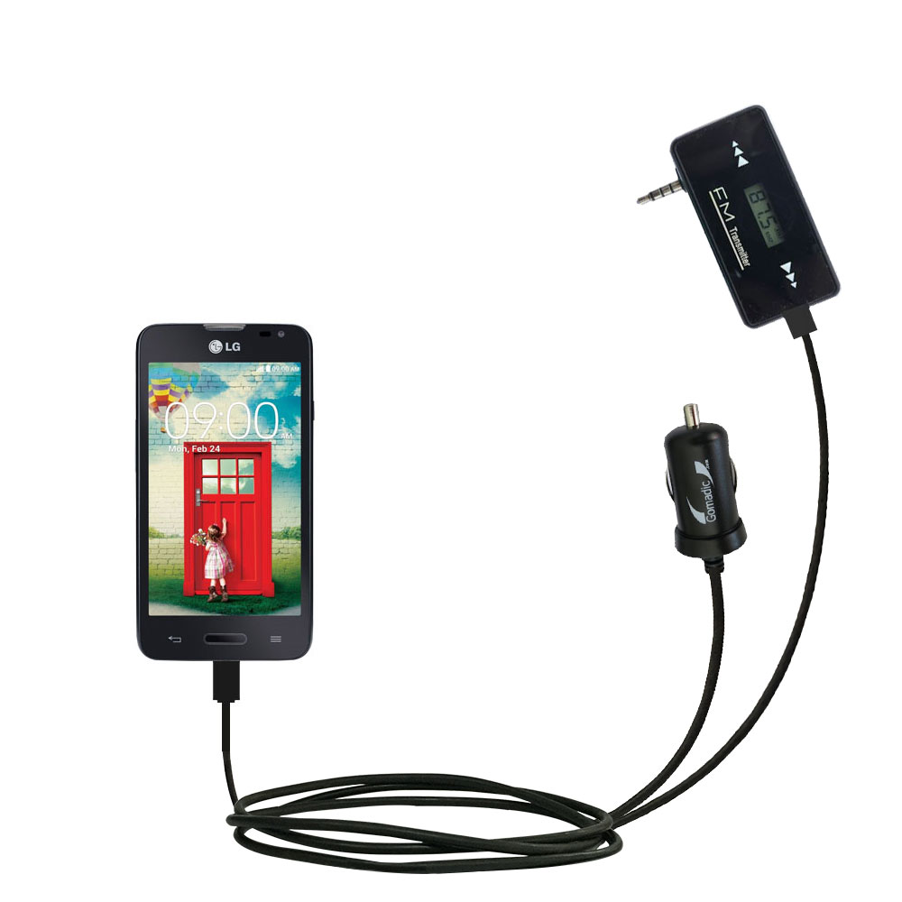 FM Transmitter Plus Car Charger compatible with the LG Optimus L70