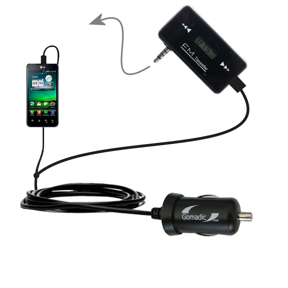 FM Transmitter Plus Car Charger compatible with the LG Optimus True HD