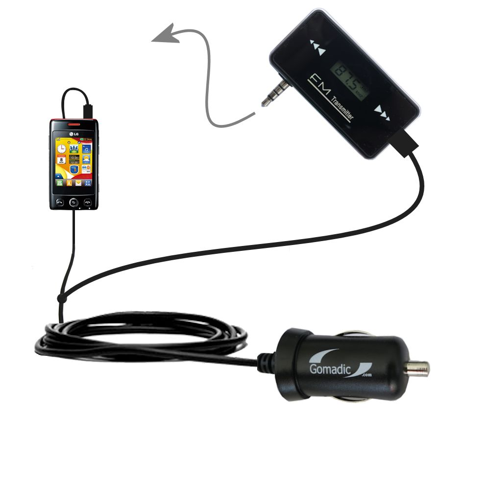 FM Transmitter Plus Car Charger compatible with the LG Papaya