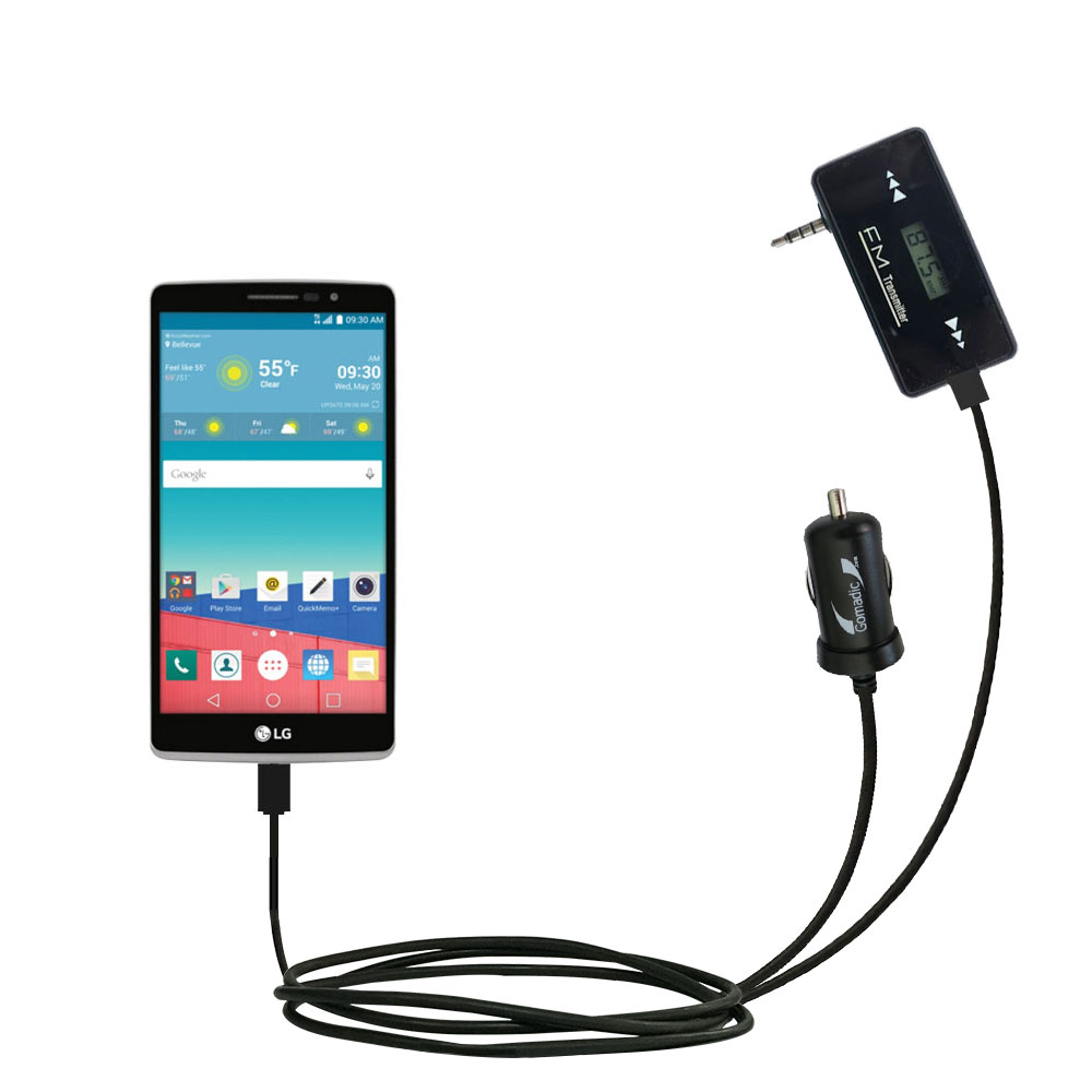 FM Transmitter Plus Car Charger compatible with the LG Stylo 3