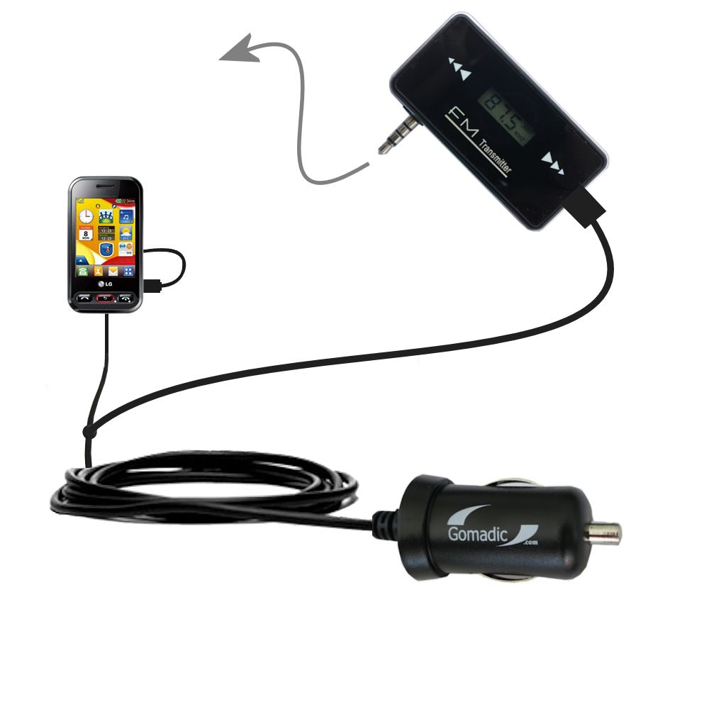 FM Transmitter Plus Car Charger compatible with the LG T320