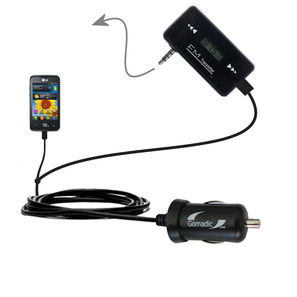 FM Transmitter Plus Car Charger compatible with the LG Univa