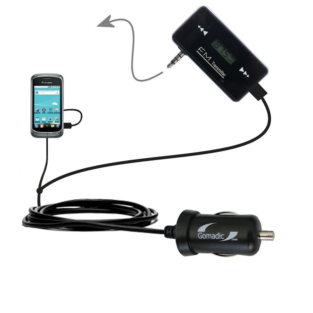 FM Transmitter Plus Car Charger compatible with the LG US760