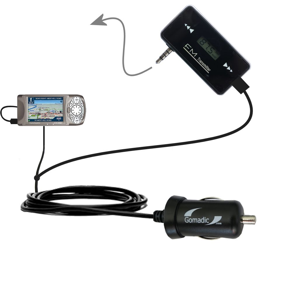 FM Transmitter Plus Car Charger compatible with the Navman iCN 650